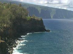 Hamakua Coastline, Approaching Waipio Valley Stock Footage