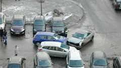 Policeman inspecting crshed cars after road accident Stock Footage