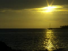 Sunset over Kailua Bay with Sailboat Stock Footage