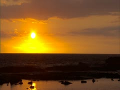 Sunset with Ocean and Tidepool Stock Footage