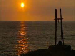Sunset at La'aloa Heiau Stock Footage