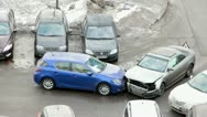 Crashed cars after accident on the road Stock Footage