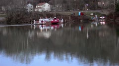 Ferryboat on a Still River Stock Footage