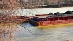 Coal Barge on the Monongahela River Stock Footage