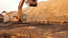 Backhoe Loading Truck with Dirt - stock footage