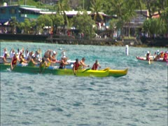 Canoe Paddlers in Race - stock footage