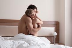 Young beauty Couple making morning sex in bedroom Stock Photos