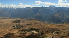 Village in Sacred valley with Andes Stock Footage