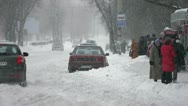 Stock Video Footage of The strong snow cyclone in the city:bad weather,difficult traffic,extreme frost!