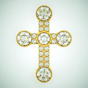 religion and fashion: golden cross with diamonds - stock illustration