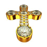 religion: golden cross with diamonds isolated - stock illustration