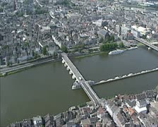 Aerial shot River Meuse in City center of Maastricht Stock Footage