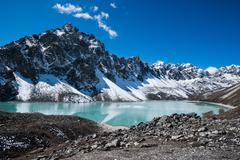 Sacred lake and peaks near gokyo in himalayas Stock Photos
