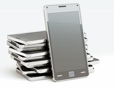 stack of cellphones with touch screens over white - stock illustration