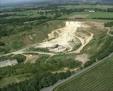 Aerial shot Quarry, open pit mine at t Rooth, Limburg Stock Footage