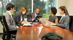 Ambitious Multi Ethnic Business Team Success News Stock Footage