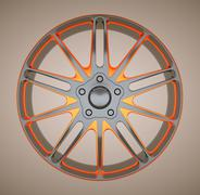 Alloy disc or wheel of sportcar Stock Illustration