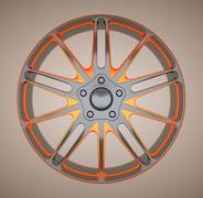 alloy disc or wheel of sportcar - stock illustration