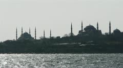 Two mosques from a sea in Istanbul, Turkey Stock Footage