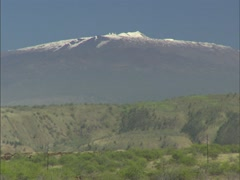 Mauna Kea with Snow and Observatories Stock Footage
