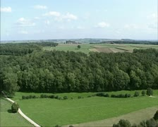 Aerial shot Dutch Countryside + forest Bovenste Bos Stock Footage