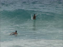 Bodyboarder Riding Waves Stock Footage