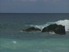 Small Bay with Rocky Outcrops Stock Footage