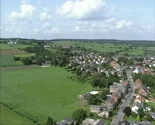 Aerial shot Dutch Countryside, Mechelen + hills Zuid-Limburg Stock Footage