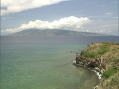 Maui Coastline and Lanai Stock Footage