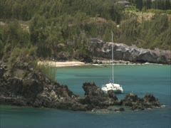 Maui Bay and Boats Stock Footage