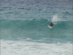 Bodyboarder Riding Waves, Flips Stock Footage