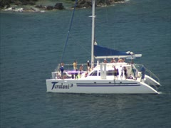 Maui Harbor and Catamaran - stock footage