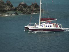Stock Video Footage of Maui Harbor and Catamaran