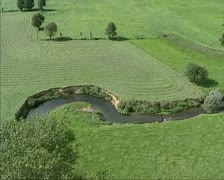 Aerial shot River Geul meanders through Geul valley Stock Footage