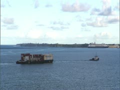 Hilo Bay with Tugboat and Cruiship - stock footage