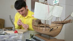 Model shipbuilding Stock Footage