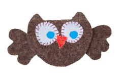 owl from pieces of fabric - stock photo