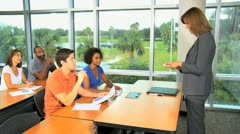 Class Mature Caucasian African American Students Stock Footage