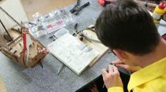 Hobby - model ship assembly kit Stock Footage