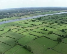 Aerial shot Hedgerow landscape along River Meuse, Holland Stock Footage