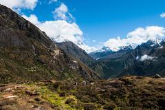 Lhotse and ama dablam peaks: himalaya landscape Stock Photos