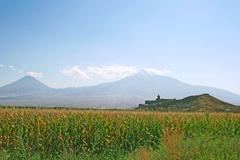 Khor virap church and mountain ararat Stock Photos