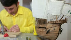 Hobby - making replica model of ship Stock Footage