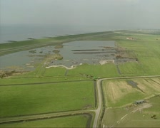 Aerial shot Nature restoration at Dutch coast Stock Footage