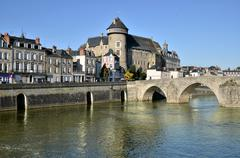 The river Mayenne at Laval in France - stock photo