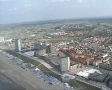 Aerial shot Coastline, beach at Zandvoort, The Netherlands. Stock Footage