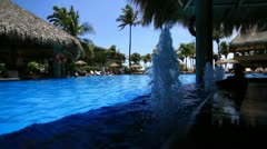 Fountain in resort pool Stock Footage