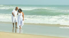 Healthy Elderly African American Couple Daily Exercise Beach - stock footage
