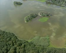 Aerial shot Lake at nature reserve Voornes Duin, Holland Stock Footage