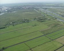 Aerial shot Kinderdijk windmills in Dutch polder Stock Footage